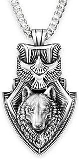 قلادة الذئب للرجال، قلادة درع النسر الذئب، قلادة رأس الذئب الفايكينج النرويج مع سلسلة 25 بوصة، قلادة التعويذة على شكل ذئب ...