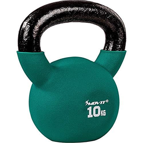 Movit® Kettlebell PRO, Kugelhantel aus Gusseisen mit Neoprenbeschichtung, 12 Varianten: 2 bis 24 kg, schadstoffgeprüft, Schwunghantel Kugelgewicht