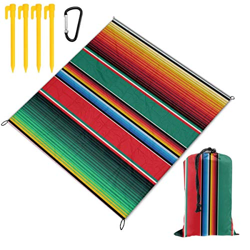 Nonebrand Picnic Blanket Mexican Rug Serape Stripes The Arts Portable Lightweight Waterproof Sandproof Pocket Beach Blanket Large Picnic Mat and for Outdoor Travel Camping Hiking Activities