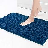 Color&Geometry Alfombra de baño Antideslizante de Chenilla Peluda de 50 x 80 cm, Alfombra de baño de Microfibra Suave, Lavable a máquina, alfombras de baño duraderas Que absorben Agua, (Azul Oscuro)