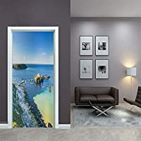 ZWYCEX ドアステッカー ベッドルームのためにアート3Dはピクチャー自己接着海景リーフPVC壁画紙防水ドアステッカーのホームインテリアの壁紙を更新印刷 (Sticker Size : 77x200cm)