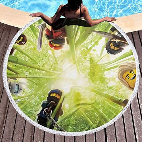 Ninjago Toallas de playa redondas de microfibra de secado rápido, ligeras, redondas, para baño, natación, toalla de playa, toalla redonda sin arena