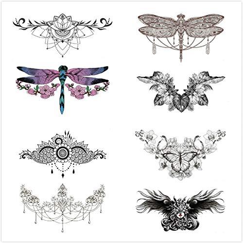 XACXYDP - Pegatinas de tatuaje de 10 colores, protección del medio ambiente, impermeables, a prueba de sudor, pegatinas de tatuaje de belleza, sexy clavícula sujetador, cicatriz