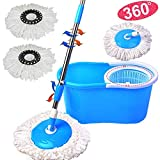 COSTWAY Balai Rotatif Balais Serpillère Rotatif 360° avec 2 Têtes de Vadrouille +Seau+Manche Hauteur Réglable (Bleu)