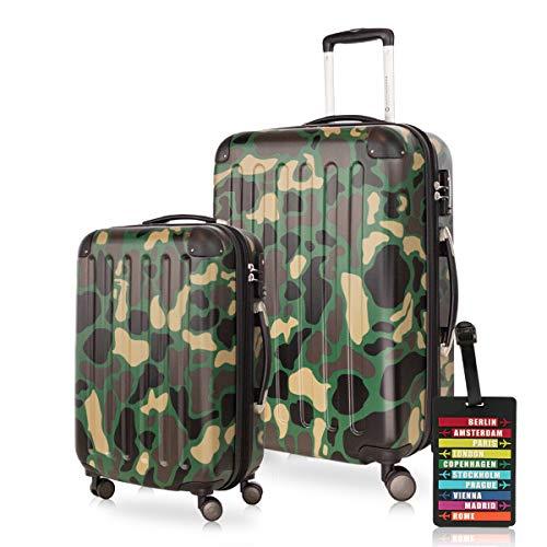 HAUPTSTADTKOFFER - Spree - Koffer-Set (1 x Handgepäck + 1 x Mittelgroßer Hartschalenkoffer Rollkoffer 65 cm, 74 Liter) + Kofferanhänger, erweiterbarer...