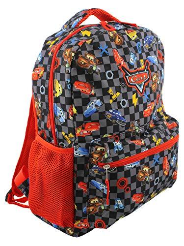 Disney Cars Boy's Girl's 16 Inch School Backpack Bag Lightning McQueen Mater (One Size, Black/Red)