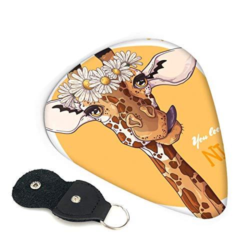 Púas de guitarra jirafa con corona de margaritas, paquete de 6, adecuado para guitarra, ukelele, bajo, guitarra eléctrica
