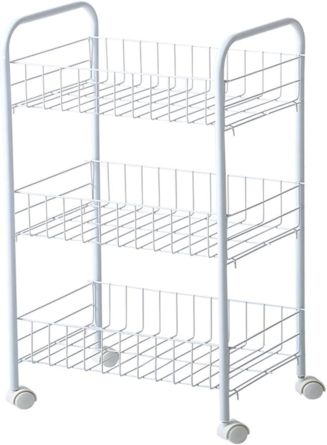 Storage Trolleys Rolling Service, Kitchen Vegetable and Fruit Removable Shelf, Multifunctional Practical Bathroom Storage Rack with 4 Wheels, 3 Tiers