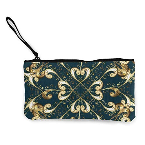 Seamless Oriental Ornament in The Style of Baroque Canvas Wallet Exquisite Coin Purses Small Canvas Coin Purse is Used to Hold Coin Change, ID and Other