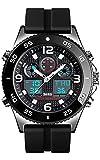 Business Watch Men Wristwatch Quartz Dual Display Watch Fashion Casual 3 Time Waterproof Stopwatch Clock (Silver - Rubber Strap)