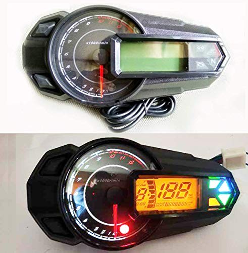 SAMDO Digital Speedometer 199 Km/h 6 Gear LCD Universal Motorcycle Speedometer Gauge with Odometer 13000 RPM Tachometer