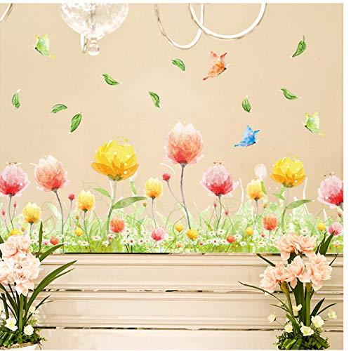 Annqing fantasie rood gele bloemen vlinder sokkelmuursticker tuindecoratie slaapkamer woonkamer hal afneembare stickers