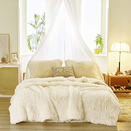 Uozzi Bedding Faux Fur Comforter Set Queen 3 Pieces - 1 Comforter Set and 2 Pillowcases, Ultra Soft and Easy Care Luxury Plush Shaggy Duvet Set (Cream - White)