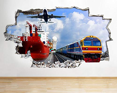 R299 Transport Boot Trein Vliegtuig Gebroken muur Decal 3D Art Stickers Vinyl RoomLarge
