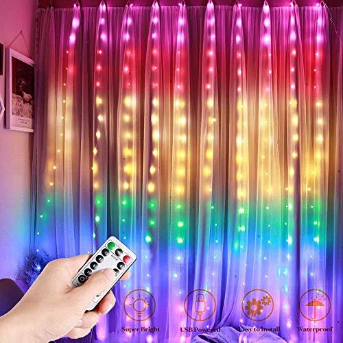 Cortina de Luces LED, Sendowtek Cadena de luces por USB, 3 * 3 m 300 LED Resistente al Agua con 8 Modos de Luz, Cortina Luminosa de Lamparita LED para Navidad, Fiesta, Cumpleaños, Boda, Jardín