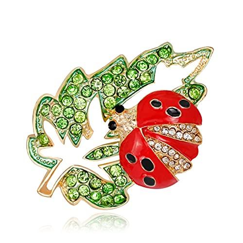 YAOLUU Broches y alfileres Árbol de Rhinestone Verde Hojas Broches Ladybug Animal Pin Accesorios de Ropa Broche de Moda