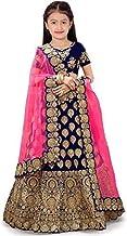 New Fashion Adda Girl's Satin Semi-stitched Lehenga Choli (FA_Blue_Western_Wear_007_Blue_Free Size)
