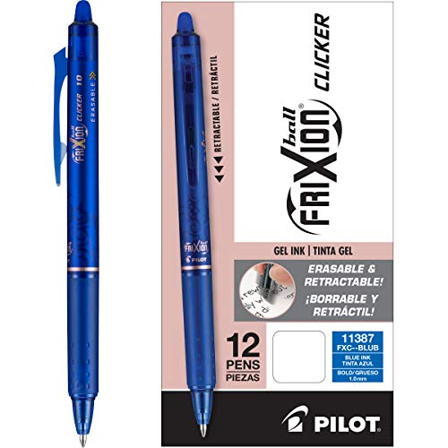 PILOT FriXion Clicker Erasable, Refillable & Retractable Gel Ink Pens, Bold Point, Blue Ink, 12-Pack (11387)