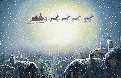 Houten puzzel 1000 stukjes Volwassen klassieke 3D-puzzel Kerstman Slee Vliegen in de sneeuw Diy Moderne kunst Woondecoratie Uniek cadeau-75X50Cm