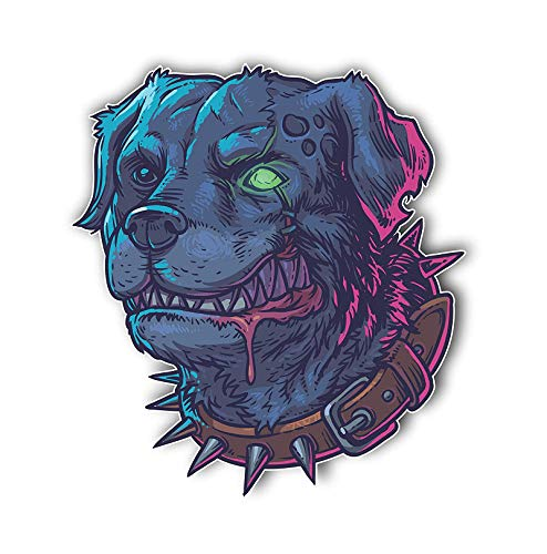 "Magnet Evil Mad Zombie Dog Magnetic vinyl bumper sticker sticks to any metal fridge, car, signs 5"""