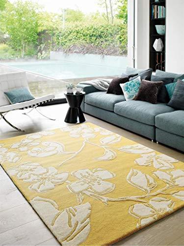 Benuta Wollteppich Matrix Devore Gelb 120x170 cm/Naturfaserteppich für Wohnzimmer und Schlafzimmer