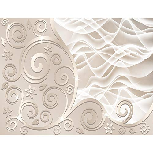 Fototapete 3D - Abstrakt Beige 396 x 280 cm Vlies Wand Tapete Wohnzimmer Schlafzimmer Büro Flur Dekoration Wandbilder XXL Moderne Wanddeko - 100% MADE IN GERMANY - Runa Tapeten 9193012a