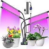 Aerb Pflanzenlampe LED, 4 Heads 80LEDs Pflanzenlicht Vollspektrum mit Zeitschaltuhr 4 Dauer, 3 Farbmodi, 6 Lichtintensitäten Wachstumslampe für Gartenarbeit Bonsais, 80W