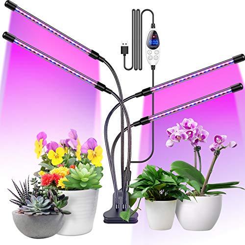 Aerb Pflanzenlampe, 80 LED Gartenbaulampe Vollspektrum-Wachstumslampe mit Timer 3 Farbmodi 6 Lichtintensitäten für Bonsai-Gartenarbeit, 4 Köpfe 80W
