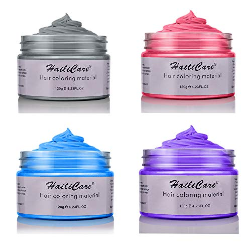 Price comparison product image 4 Colors Temporary Hair Dye Wax - 4 in 1 Sliver Blue Purple Red - Natural Matte Hairstyle for Party,  Cosplay