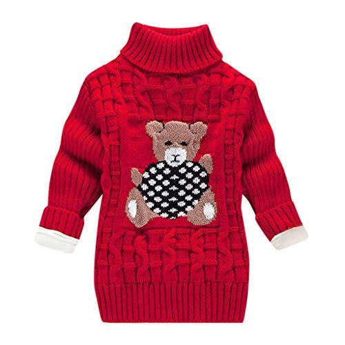LEXUPE Baby Kinder Mädchen Winter Pullover Strickpullover Hoher Kragen Warmer Langarm Cute Pullover Kinderkleidung Sweatshirt Tops(E-Rot,130)