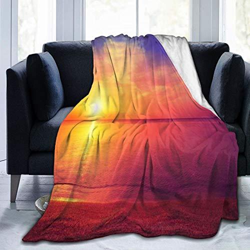 Manta Sunset by The Sea Cobija ultra suave de microfibra de forro polar de lujo para sofá de oficina, manta para adultos y jóvenes niños