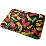 LNUO-2 Indoor Outdoor Entry Way Doormat Red Green Chili Pepper Rug Floor Mats for High Traffic Areas, Shoe Rugs
