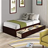 Twin Daybed with Storage 3 Drawers,Solid Wood Japanese Style Low Platform Bed Frame Adults Tatami Bed for Small Spaces Room,No Box Spring Needed (Espresso)