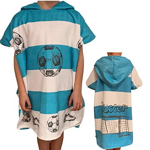 HOMELEVEL Kinder Baby Poncho Badeponcho Handtuch Cape Baumwollmischung Velours Frottee Badetuch mit Kapuze (8-11 Jahre, Fußball)