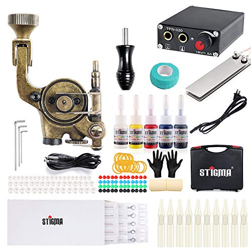 Stigma Maquina de Tatuaje Kit Completo Pistola Rotativa Maquina de Tatuaje Kit Fuente de Alimentacion Pedal 5 Tintas con Maletin MK682B