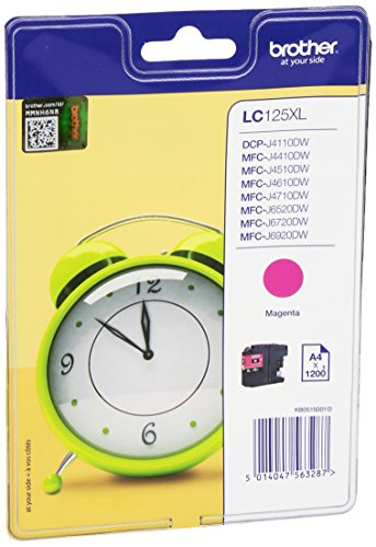 Brother LC-125XLMBP LC-125XL Tintenpatrone hohe Kapazität 1.200 pages Blister, magenta