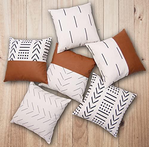 EFOLKI Boho Throw Pillow Covers for Couch and Bed 18x18 Set of 6, Boho Decor,fall home decor, bedroom living room farmhouse boho decor, fall decorations for home, White Decorative Throw Pillows Covers
