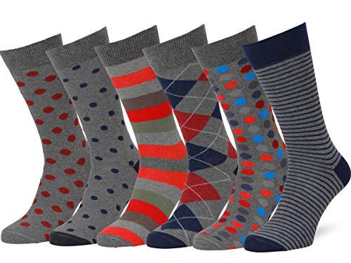 Easton Marlowe 6 Paar Bunt Gemusterte Socken - #45, Grau & helle Farben - 43-46 EU Schuhgröße