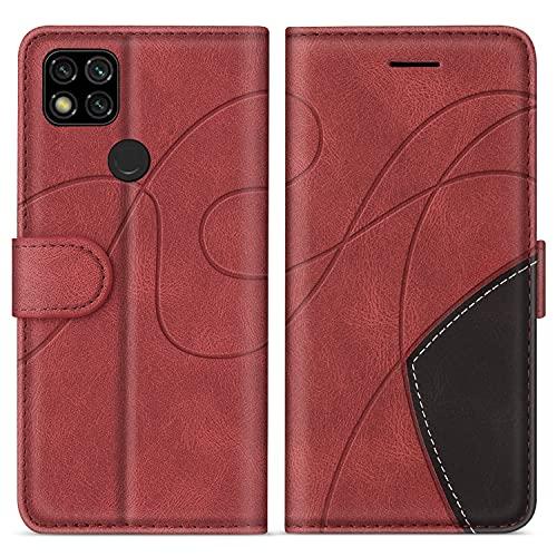 SUMIXON Hülle für Xiaomi Redmi 9C, PU Leder Brieftasche Schutzhülle für Xiaomi Redmi 9C, Kratzfestes Handyhülle mit Kartenfächern & Standfunktion, Rot