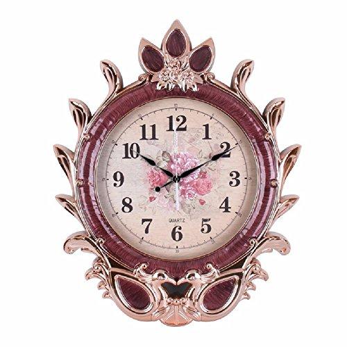 HQLCX Horloge Murale Le Salon De Pendule Moderne De Style Européen Horloge 53 * 65 * 7 Cm,Bordeaux