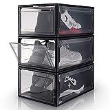 Yorbay Cajas de Zapatos Transparente Plástico Negro, 3 Set apilables y...
