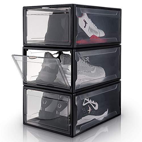 Yorbay Cajas de Zapatos Transparente Plástico Negro, 3 Set apilables y Plegables, Organización de Hogar, Oficina