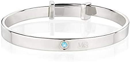 Molly B London Personalized 925 Sterling Silver Babys Love Heart Baptism Bangle