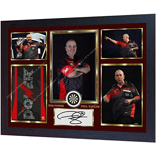 S&E DESING Phil Taylor The Power Autogramm-Fotodruck, gerahmt