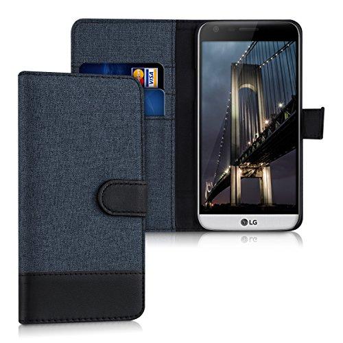 kwmobile Funda Compatible con LG G5 / G5 SE - Carcasa de Tela y Cuero sintético Tarjetero Azul Oscuro/Negro
