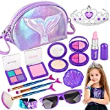 Banvih Makeup Kit for Girls-Pretend Play Toy Makeup Set for Kids Toddlers with Princess Crown, Purse,...