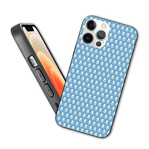 Compatible con iPhone 12 Series 2020 - Funda estilo simplista composición de flores con fondo azul tono retro diseño para iPhone 12 Mini 5.4 pulgadas