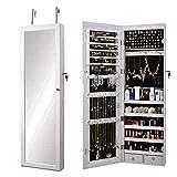 SogesHome Armario de joyería montado en la pared/puerta, espejo de longitud completa, organizador...
