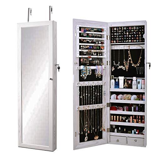 SogesHome Armario de joyería montado en la pared/puerta, espejo de longitud completa, organizador de joyas con cerradura para anillos, pendientes, pulseras, broches y maquillaje, blanco,SH-QH-7025-W