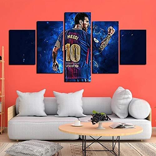 Gmoope 5 Piezas De Murales, Cuadros De Lienzo, Pinturas Al Óleo, Impresiones, Decoración De Lienzo, Arte De La Pared del Hogarel Delantero del FCB Messi